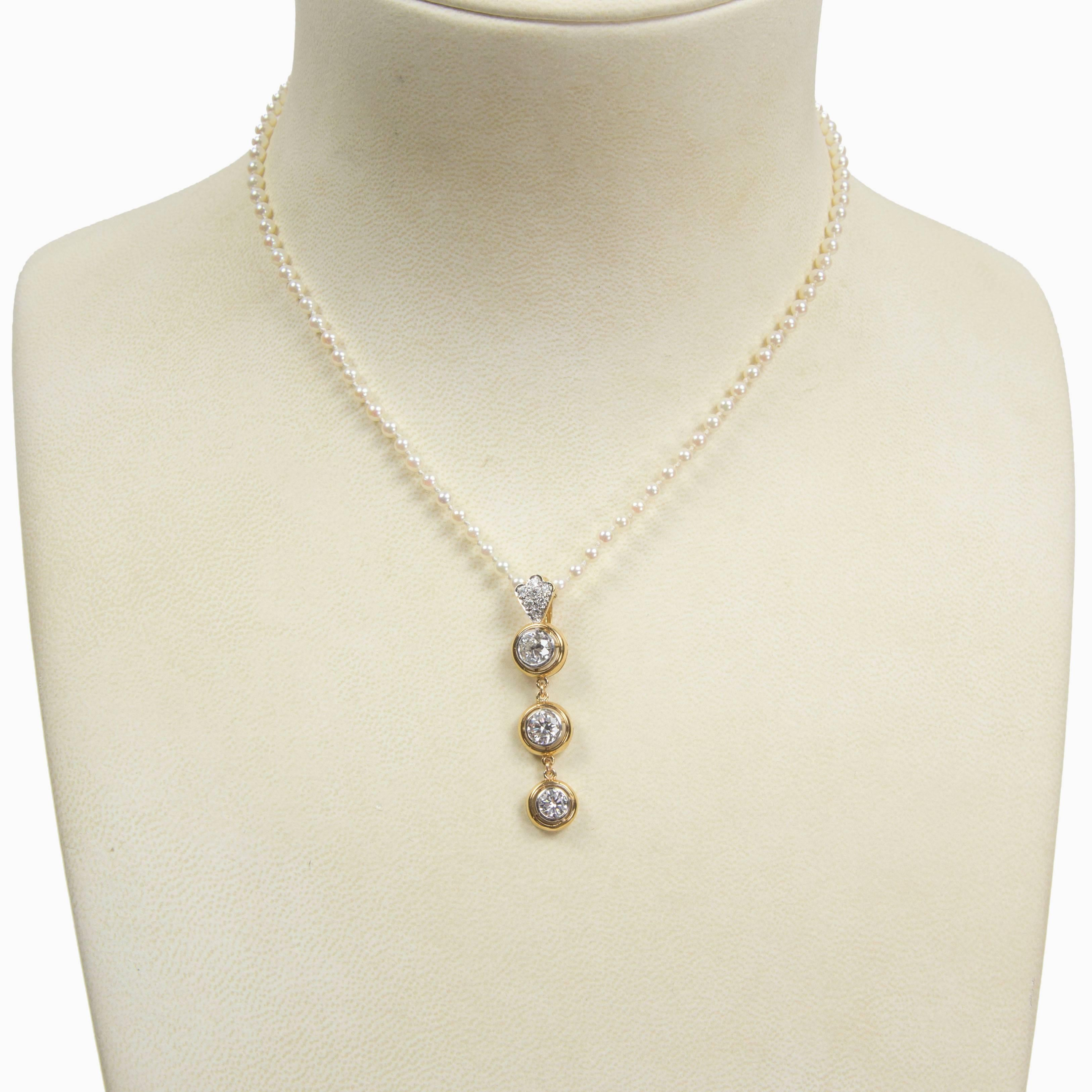 160c134d9 Beautiful Diamond Gold Drop Pendant and Pearl Necklace For Sale at 1stdibs