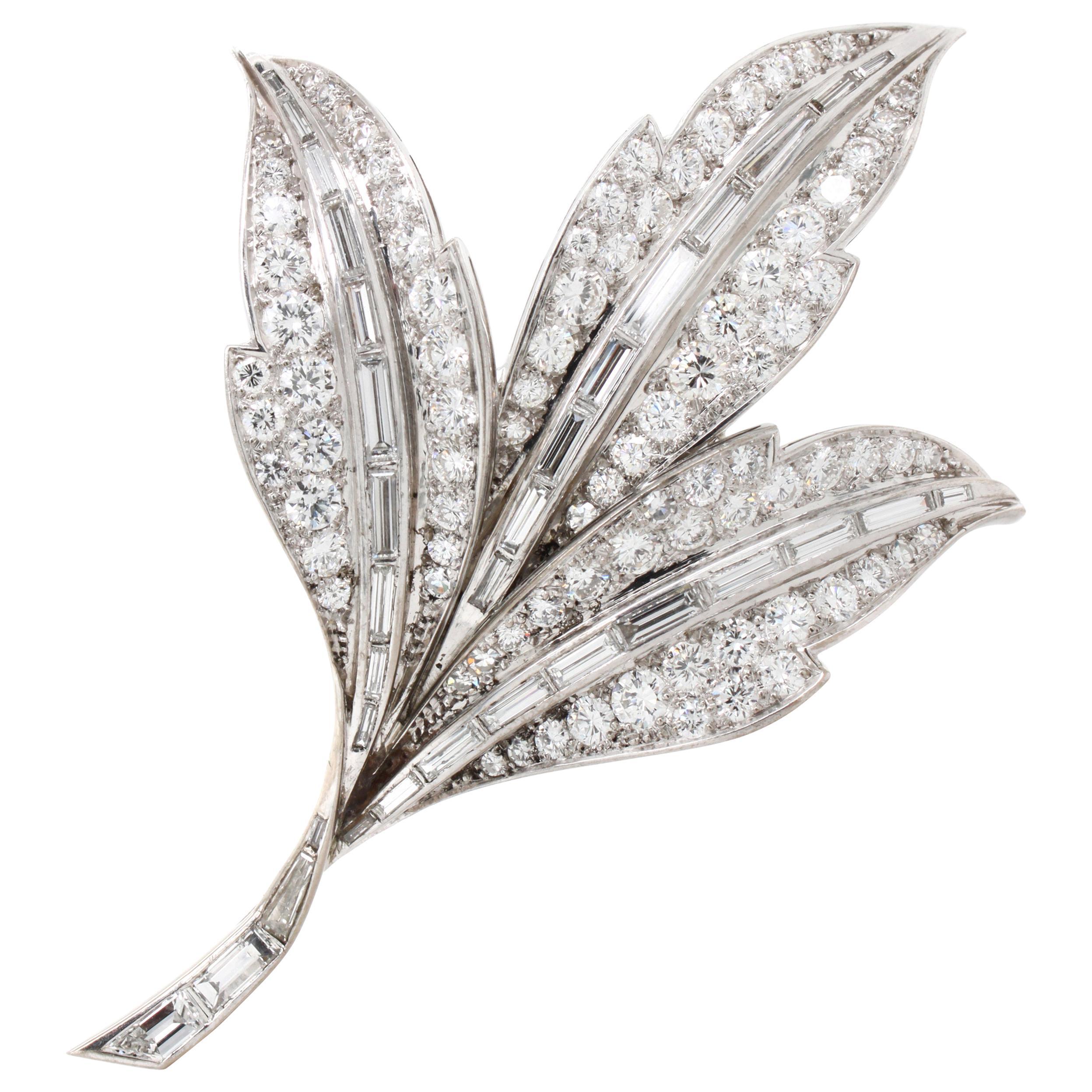 Beautiful Diamond Leaves Brooch, 1980s