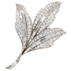 Beautiful Diamond Leaves Brooch, 1980s