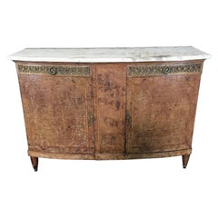 Beautiful Directoire French Burled Walnut and Marble Buffet