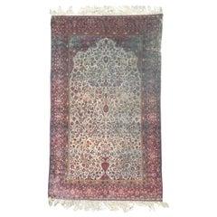 Beautiful Distressed Antique Kashan Silk Rug