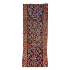 Beautiful Distressed Antique Malayer Fragment Runner