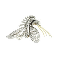 Beautiful Double Clip Art Deco Brooch with Diamonds in Platinum