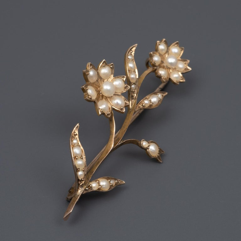 Victorian Beautiful Early 20th Century Gold Pearl Flower Stem Brooch Pin, circa 1900 For Sale