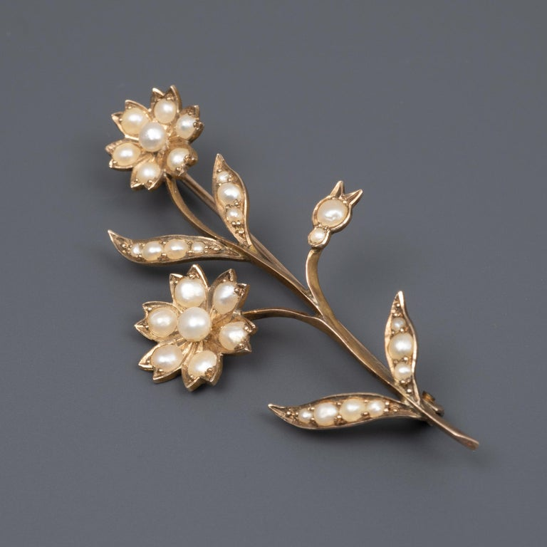 Bead Beautiful Early 20th Century Gold Pearl Flower Stem Brooch Pin, circa 1900 For Sale