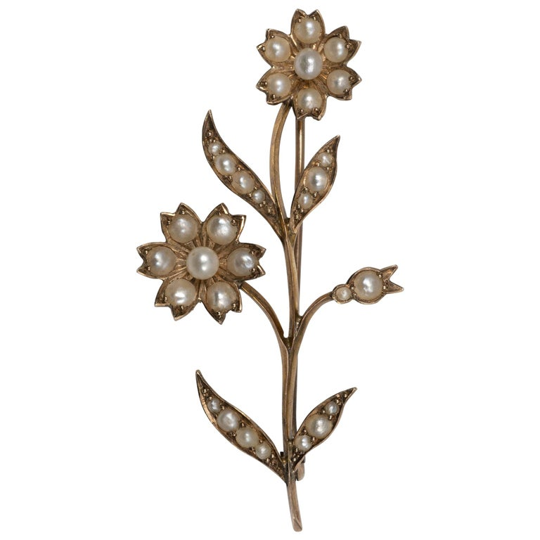 Beautiful Early 20th Century Gold Pearl Flower Stem Brooch Pin, circa 1900 For Sale