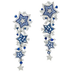 Stylish Earrings White Gold White Diamonds Blue Sapphires Decorated MicroMosaic