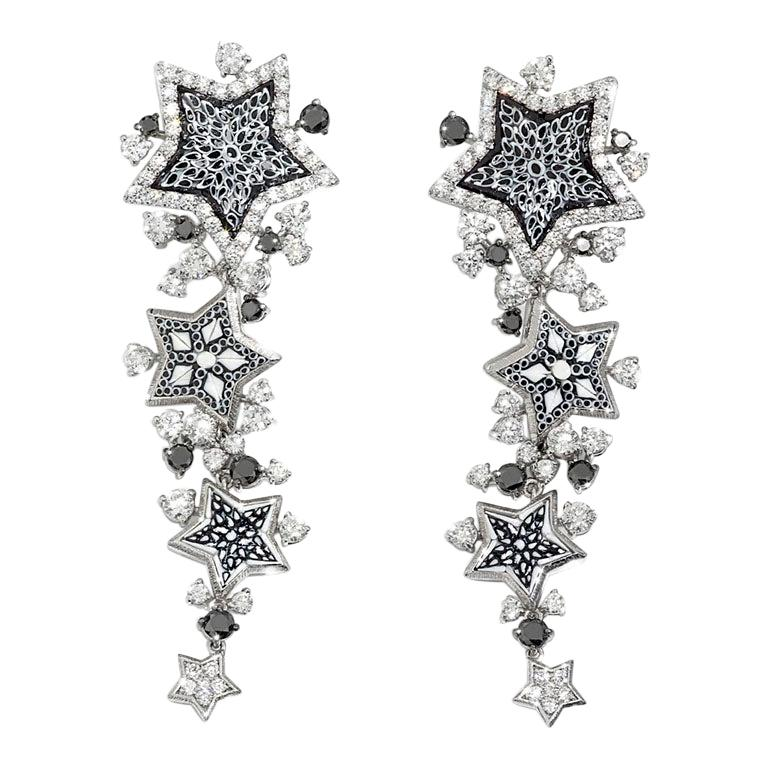 Stylish  Earrings White Gold White & Black Diamonds HandDecorated MicroMosaic