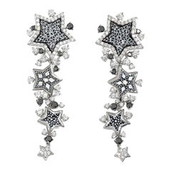Beautiful Earrings Etoile Dark White and Black Diamonds White Gold Micromosaic