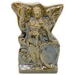 Beautiful Earthenware Angel Wall Plaque Decoration Vintage, Austria, 1920s