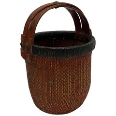 Beautiful Earthy Chinese Woven Rattan Market Basket