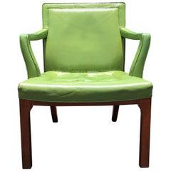 Beautiful Edward Wormley Armchair, Green Leather Chair, Dunbar, Mahogany