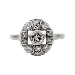 Beautiful Edwardian .95 Carat G/H VVS Diamond Platinum Rare Ring