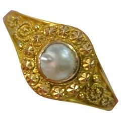 Beautiful Edwardian 9 Carat Rose Gold and Pearl Ring