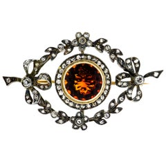 Beautiful Edwardian Citrine and Diamond Bow Foliate Brooch