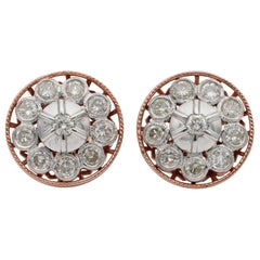 Beautiful Edwardian Night and Day Platinum Rose Gold Earrings