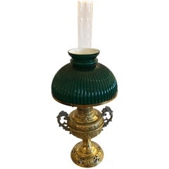 Beautiful Electrified Brass Oil Lamp by New Rochester with Green Glass Shade