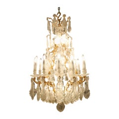 Beautiful Elegant Antique Louis XV Style Rock Crystal Chandelier, circa 1880