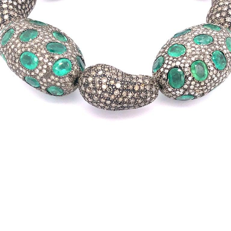 Artisan Beautiful Emerald and Diamond Stretch Bracelet  For Sale