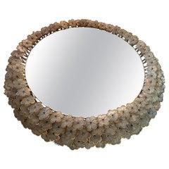 Beautiful Emil Stejnar Back Lit Mirror with Murano Glass Flowers Surround