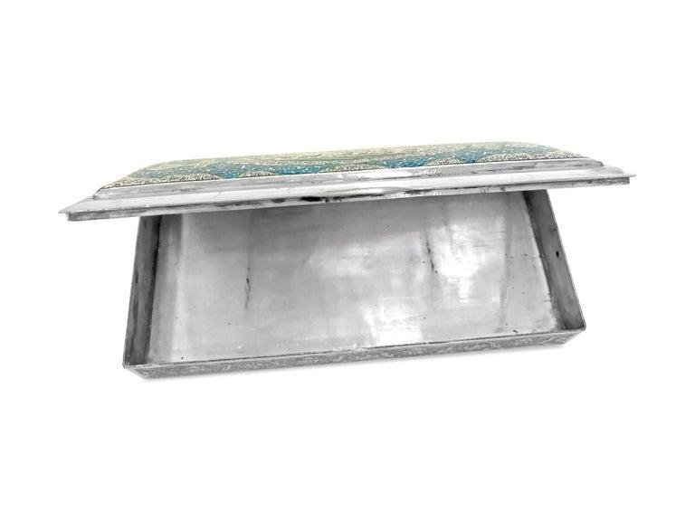 Artisan Beautiful Enamel Rectangle Silver Box For Sale