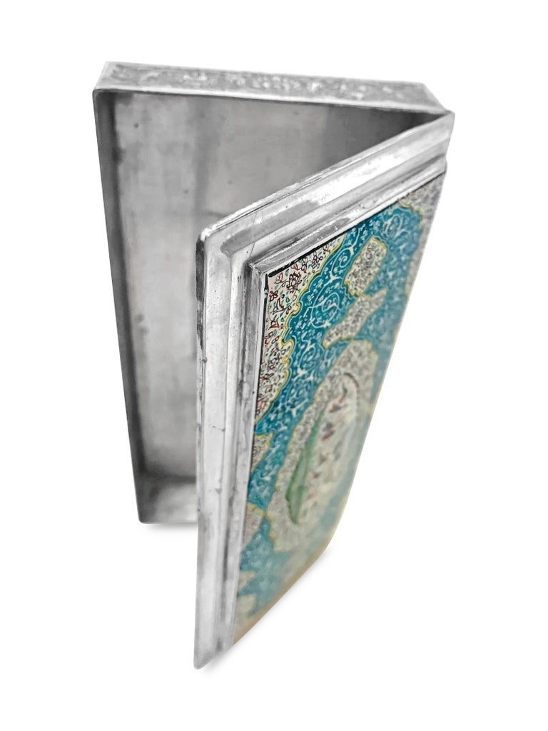 Beautiful Enamel Rectangle Silver Box In Good Condition For Sale In Jackson Heights, NY