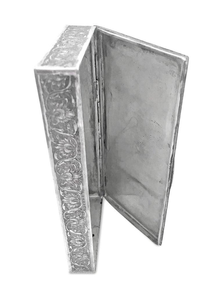 Women's or Men's Beautiful Enamel Rectangle Silver Box For Sale