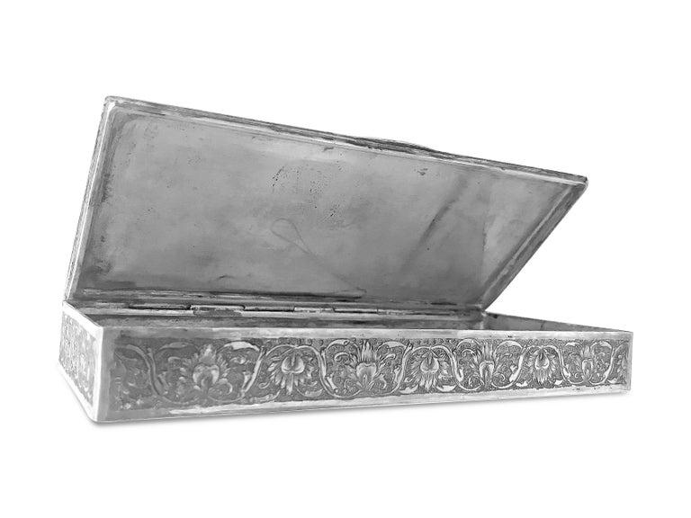 Beautiful Enamel Rectangle Silver Box For Sale 1