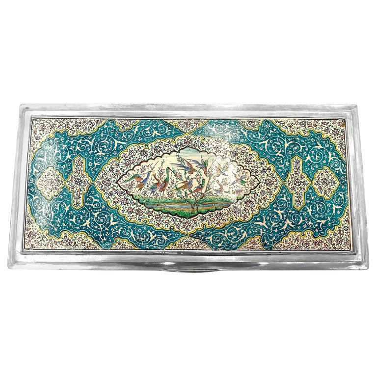 Beautiful Enamel Rectangle Silver Box For Sale