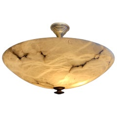 Beautiful & Enormous Size Alabaster & Brass Art Deco Pendant Light / Flush Mount
