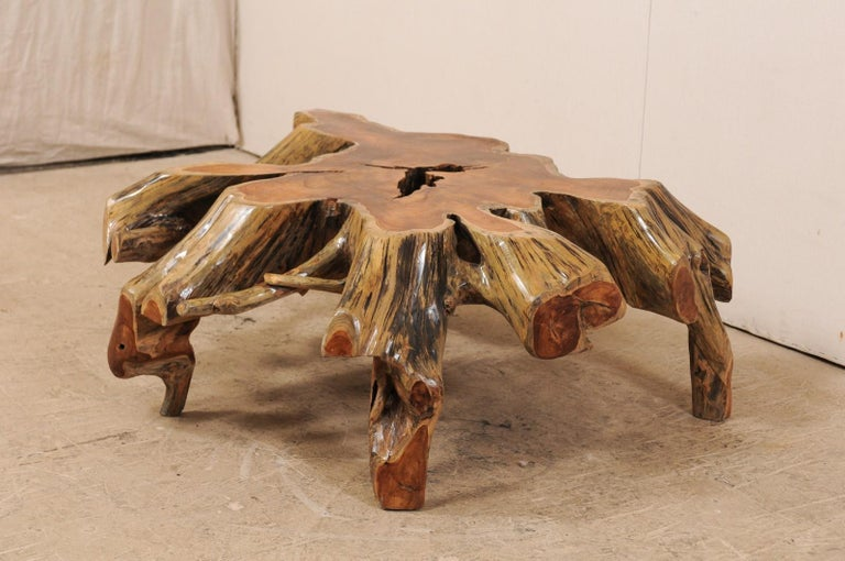 Carved Beautiful European Tree Root Coffee Table For Sale