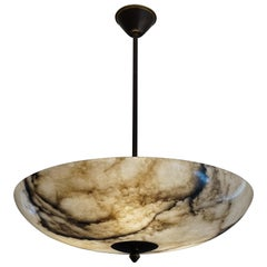 Beautiful and Extra Large Alabaster & Brass Art Deco Pendant Light / Flush Mount