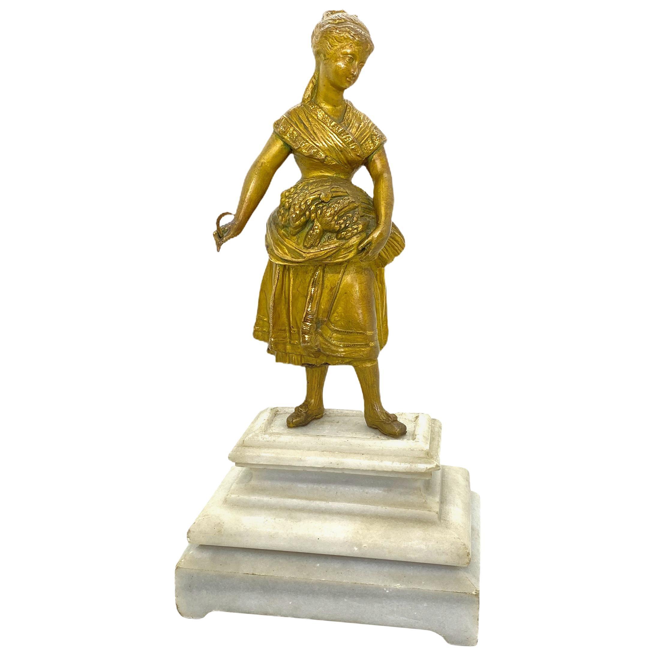 Beautiful Farmer Maid Statue on Marble Base, Vintage 1890s, Austria