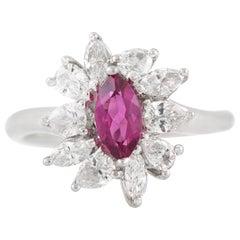 1.32 Carat Pink Sapphire 1.15 Carat Diamond Ring