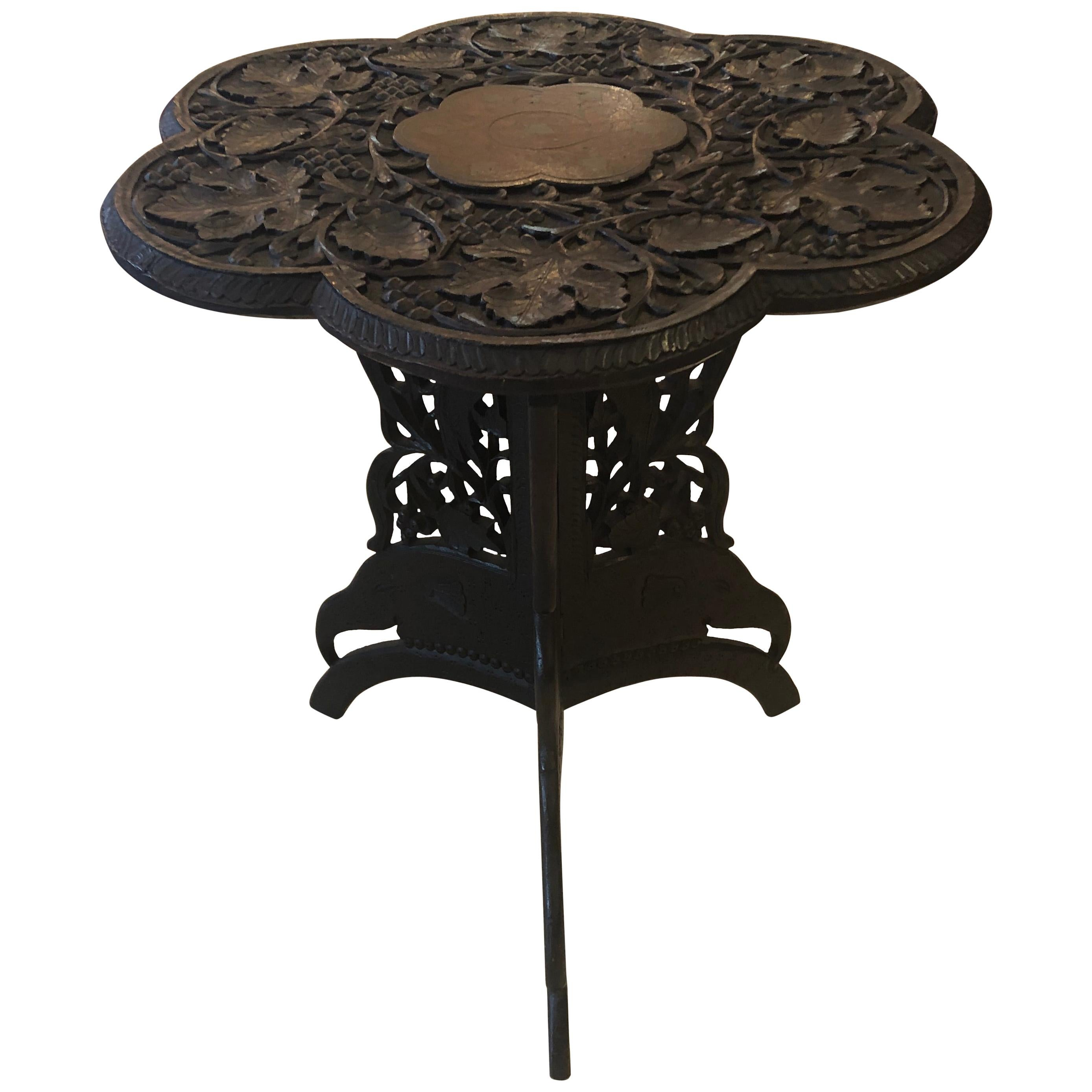 Beautiful Flower Shaped Anglo-Indian Carved Wood End Side Table