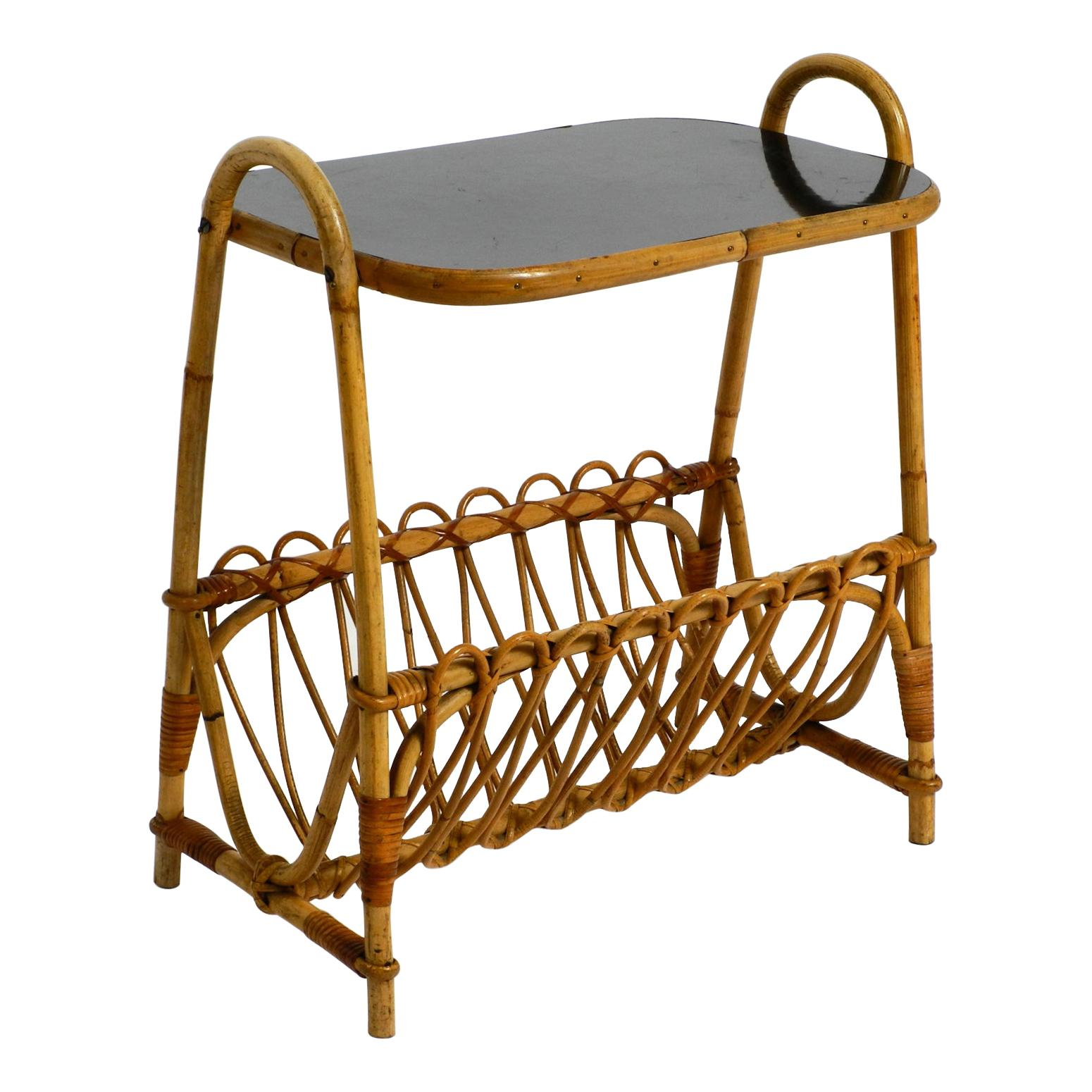 Beautiful French 1960s Bamboo Side Table with Magazine Rack