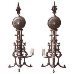 Beautiful French Art Deco Andirons or Firedogs, Early 20th Century