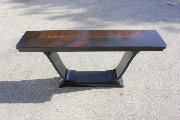Beautiful French Art Deco Exotic Macassar Ebony Console Tables, circa 1940s For Sale 7