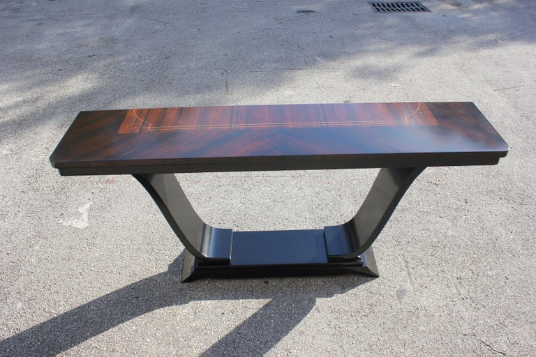 Beautiful French Art Deco Exotic Macassar Ebony Console Tables, circa 1940s For Sale 11