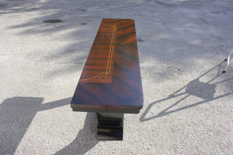 Beautiful French Art Deco Exotic Macassar Ebony Console Tables, circa 1940s For Sale 12