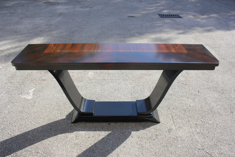 Beautiful French Art Deco Exotic Macassar Ebony Console Tables, circa 1940s For Sale 13