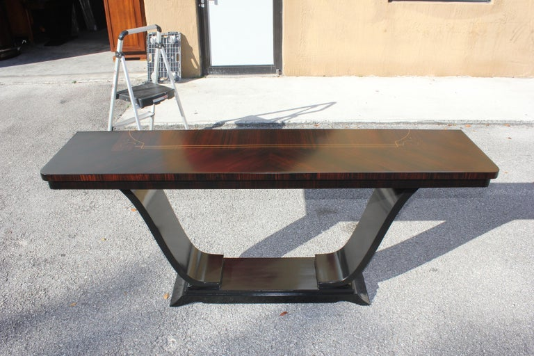 Beautiful French Art Deco Exotic Macassar Ebony Console Tables, circa 1940s For Sale 15