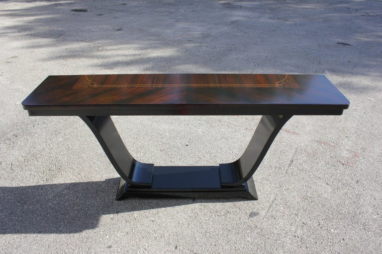 Beautiful French Art Deco Exotic Macassar Ebony Console Tables, circa 1940s For Sale 16