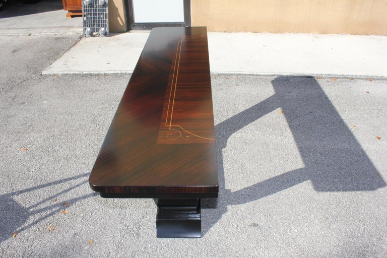 Mid-20th Century Beautiful French Art Deco Exotic Macassar Ebony Console Tables, circa 1940s For Sale