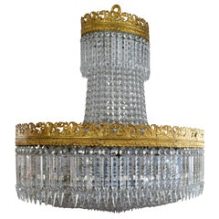 Beautiful French Basket Crystal Chandelier, circa 1920 33-Light