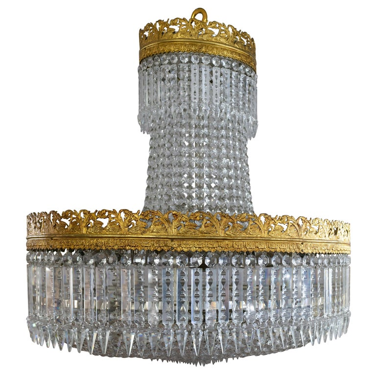 Beautiful French Basket Crystal Chandelier, circa 1920 33-Light For Sale