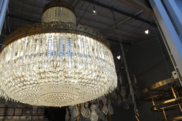 Brass Beautiful French Basket Crystal Chandelier, circa 1920 33-Light For Sale