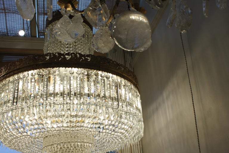 Beautiful French Basket Crystal Chandelier, circa 1920 33-Light For Sale 1