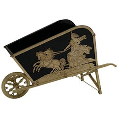 Beautiful French Brass Neoclassical Style Wheelbarrow Shaped Centerpiece