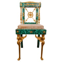 Beautiful French Empire Style Malachite and Gilt Bronze Side Chair